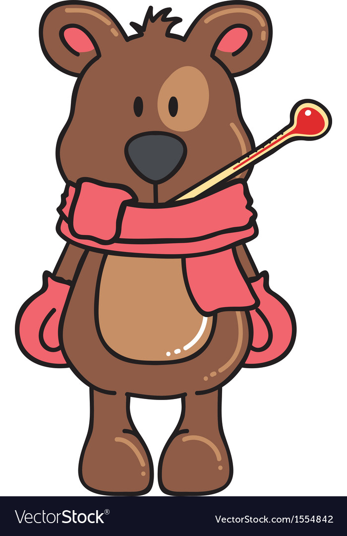 Winter bear feeling cold and sick vector | Price: 1 Credit (USD $1)