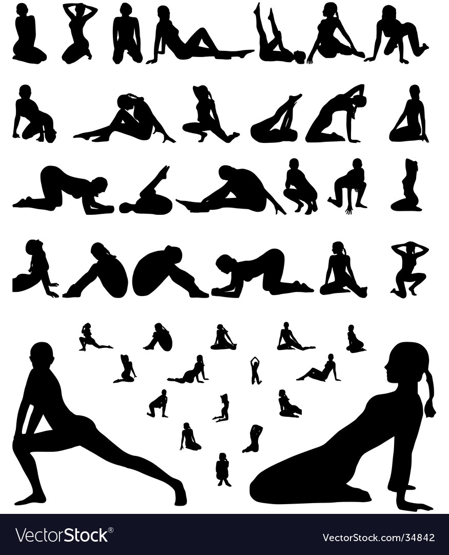 Woman erotic and sporty silhouettes vector | Price: 1 Credit (USD $1)