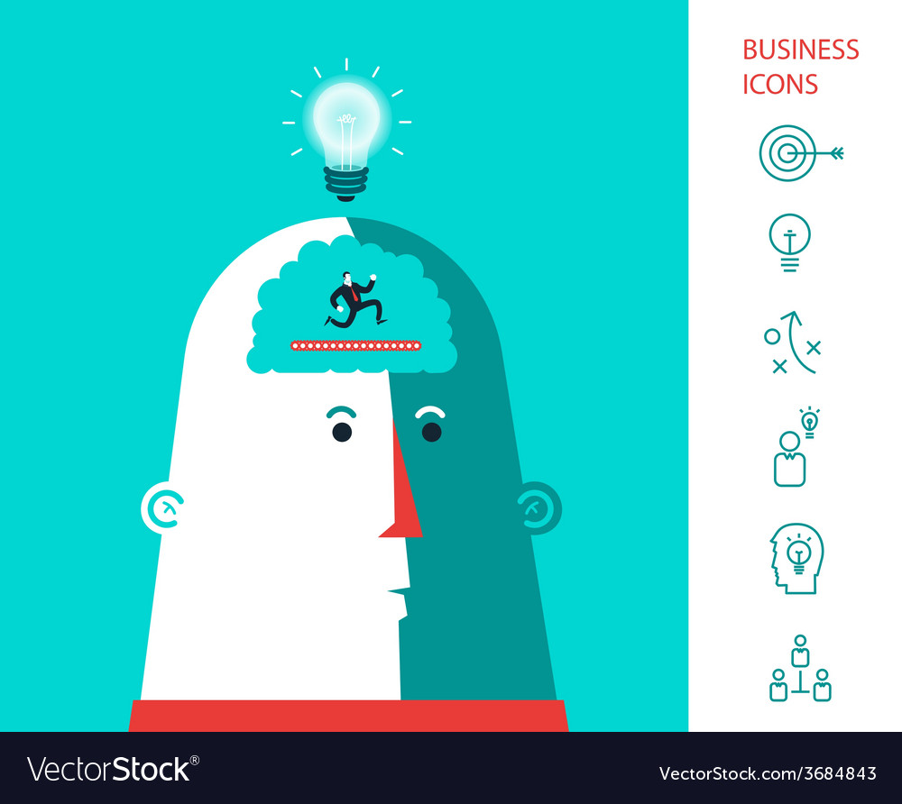 Business man who run in the head and generated vector | Price: 1 Credit (USD $1)