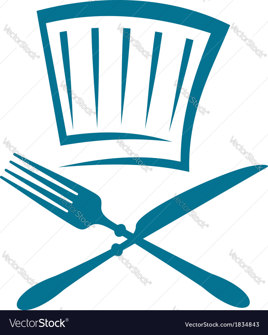 Doodle restaurant sign with knife fork and glass vector | Price: 1 Credit (USD $1)