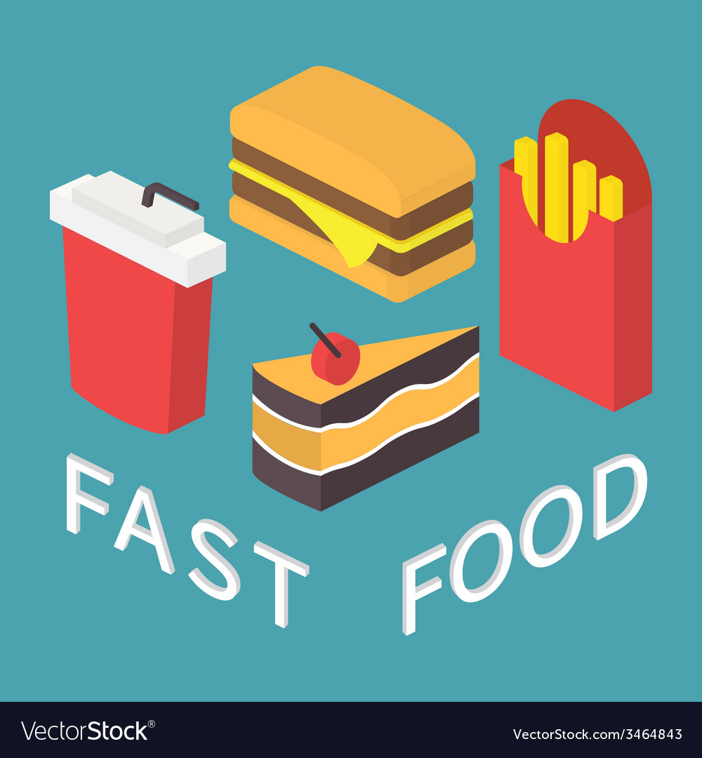 Fast food 3d isometric flat set vector | Price: 1 Credit (USD $1)