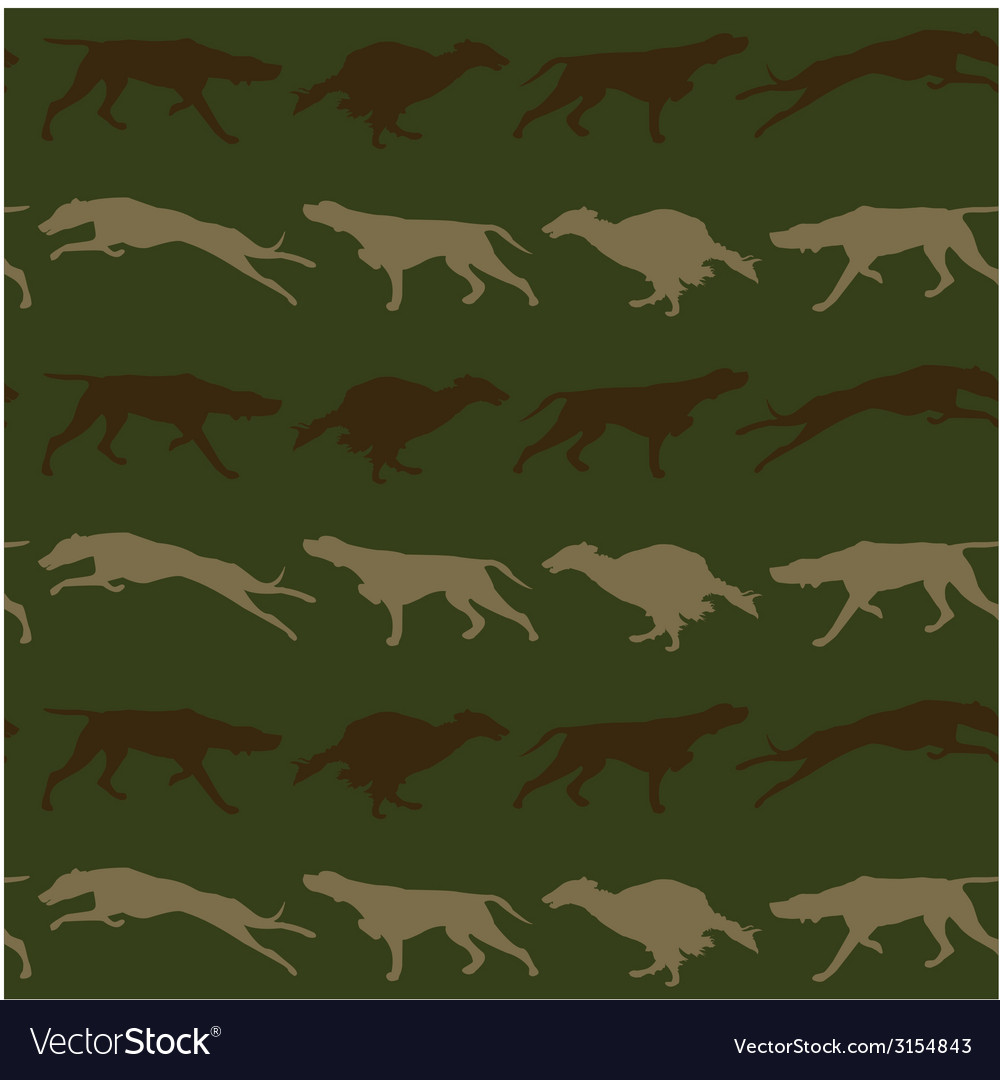 Hunting dogs seamless background in camouflage vector | Price: 1 Credit (USD $1)