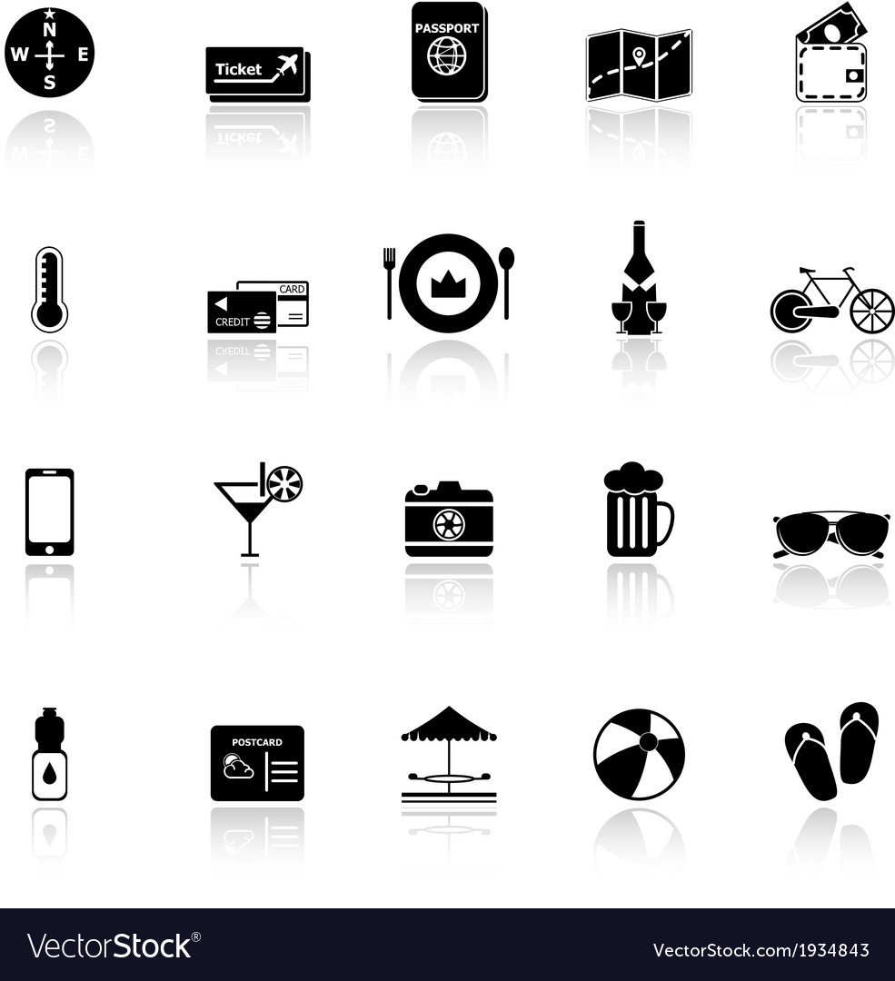 Journey icons with reflect on white background vector | Price: 1 Credit (USD $1)