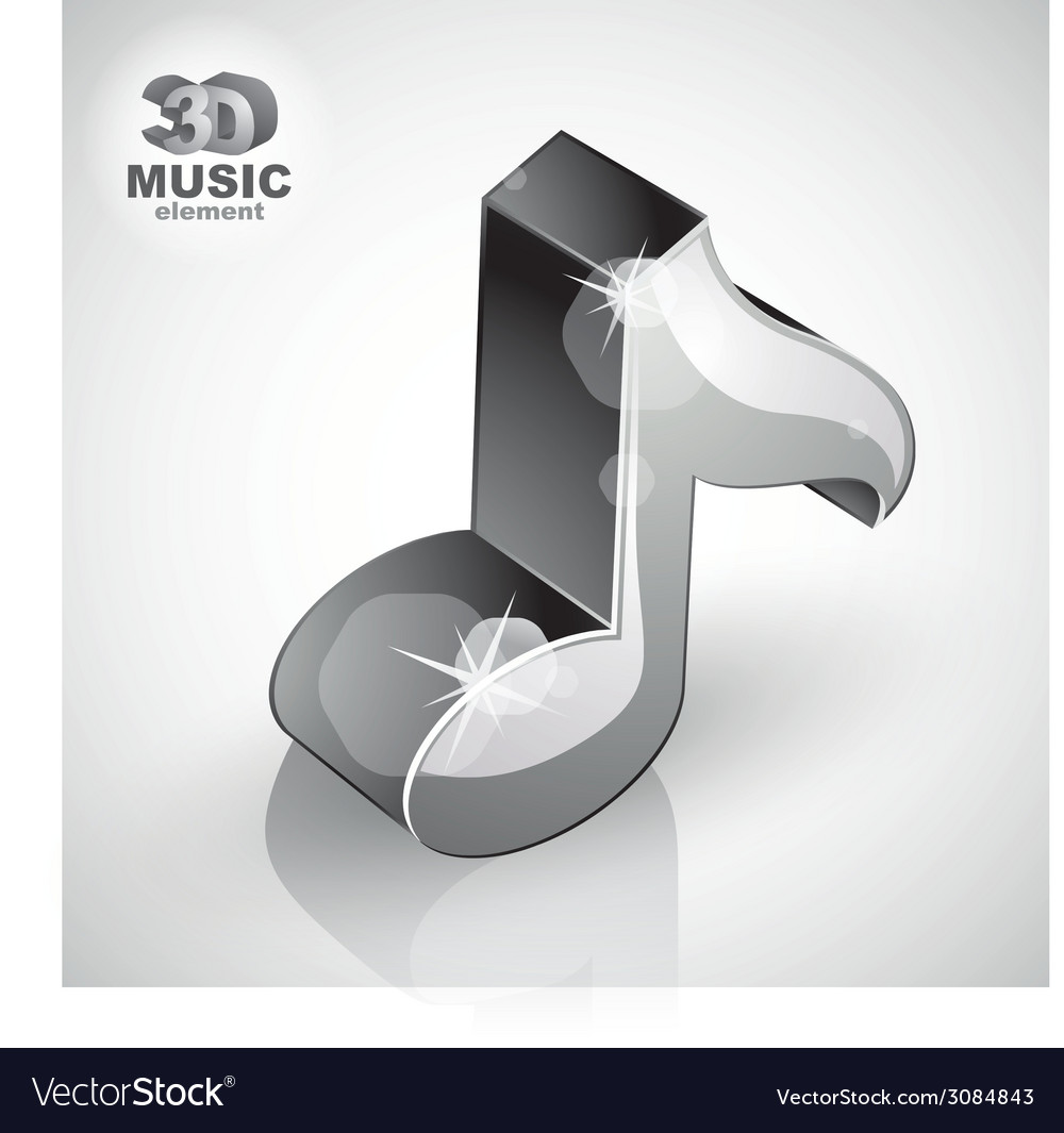Metallic musical note icon from upper view vector   Price: 1 Credit (USD $1)