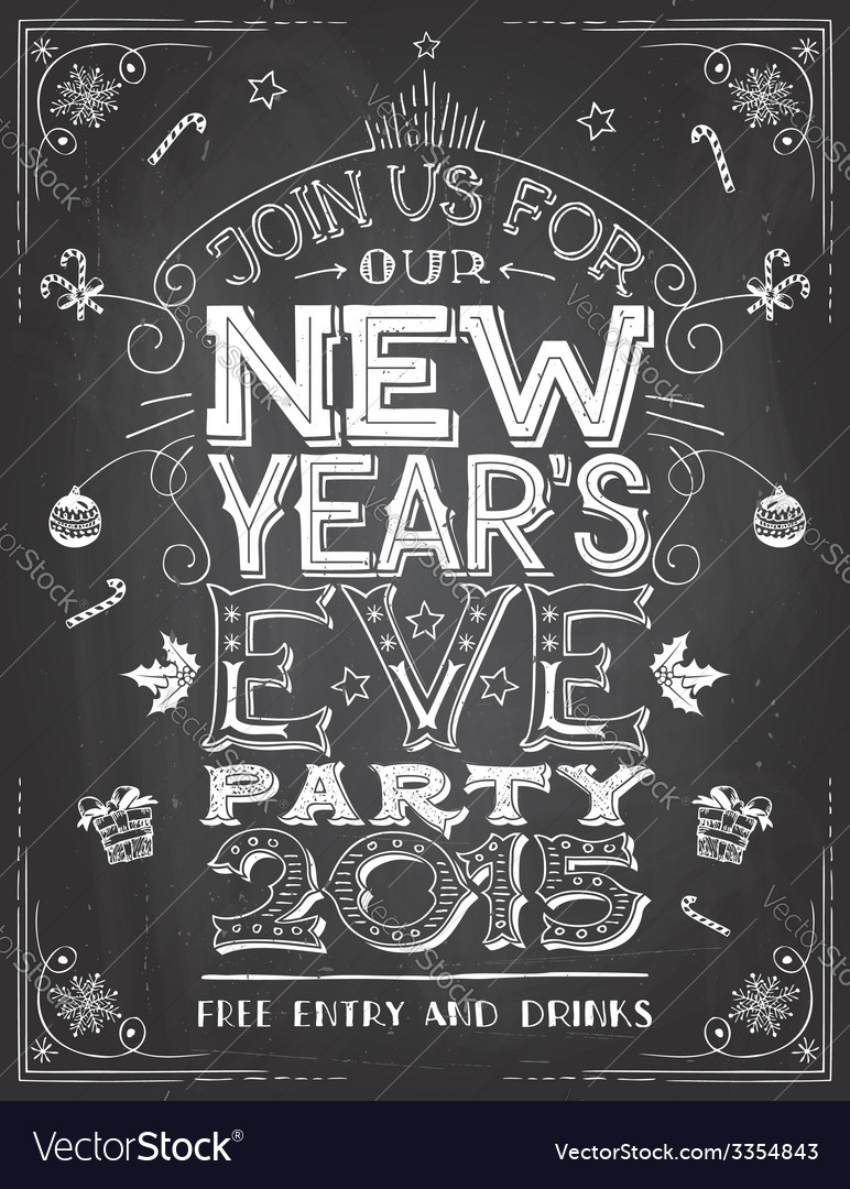 New years eve party invitation on chalkboard vector | Price: 3 Credit (USD $3)