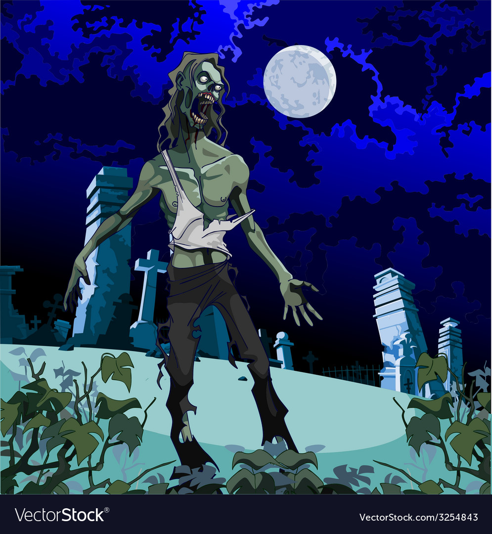 Scary zombie cemetery at night vector | Price: 5 Credit (USD $5)