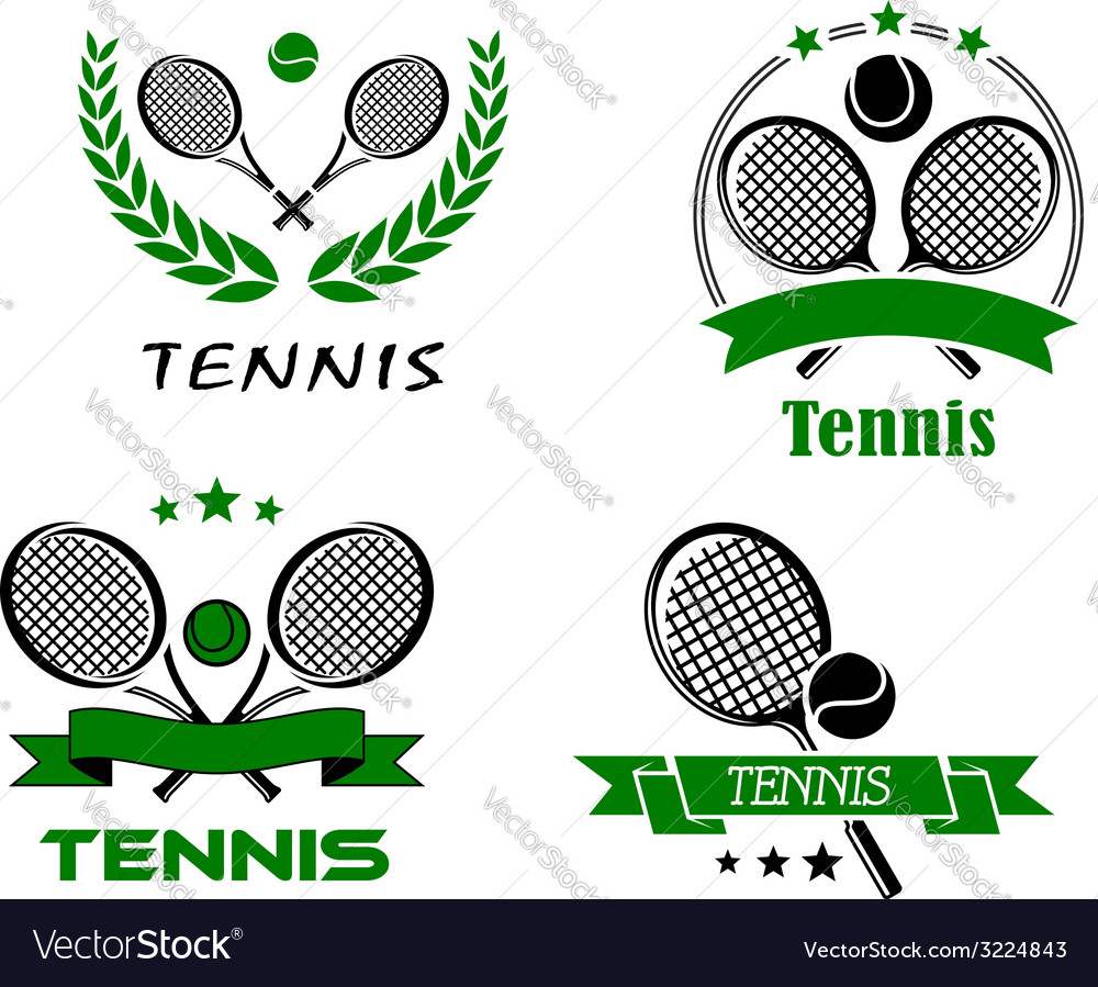 Set of tennis badges or emblems vector | Price: 1 Credit (USD $1)