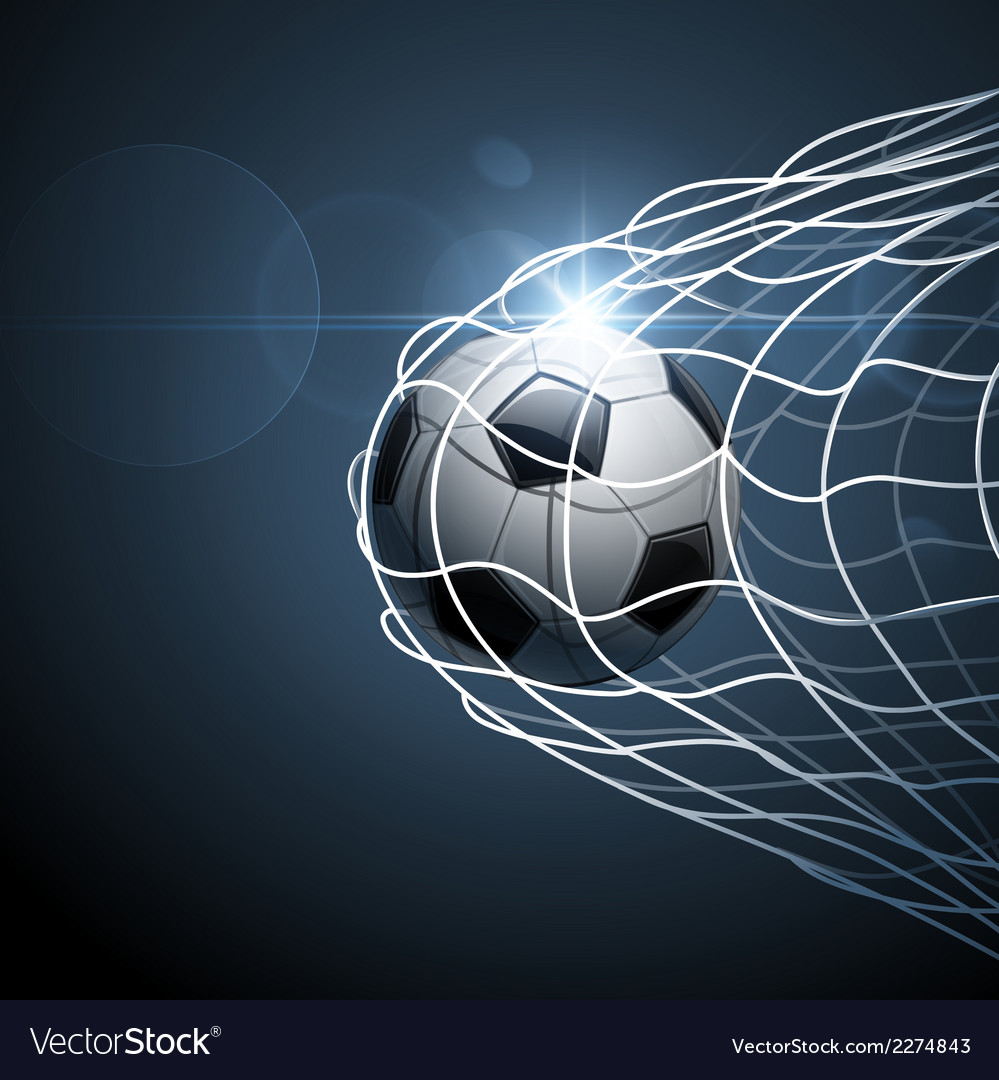 Soccer ball in goal vector | Price: 1 Credit (USD $1)