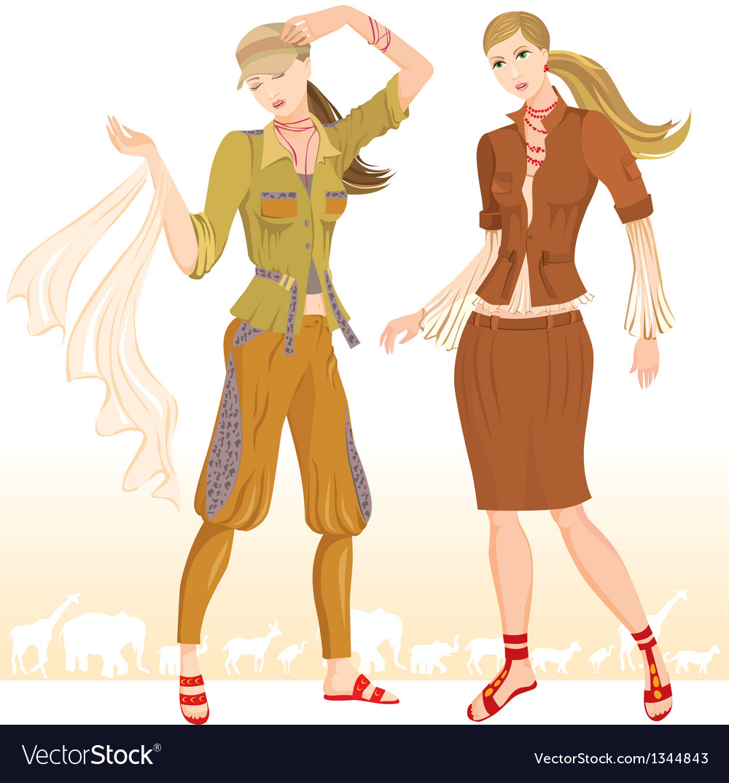 Summer fashion models 2 vector | Price: 1 Credit (USD $1)