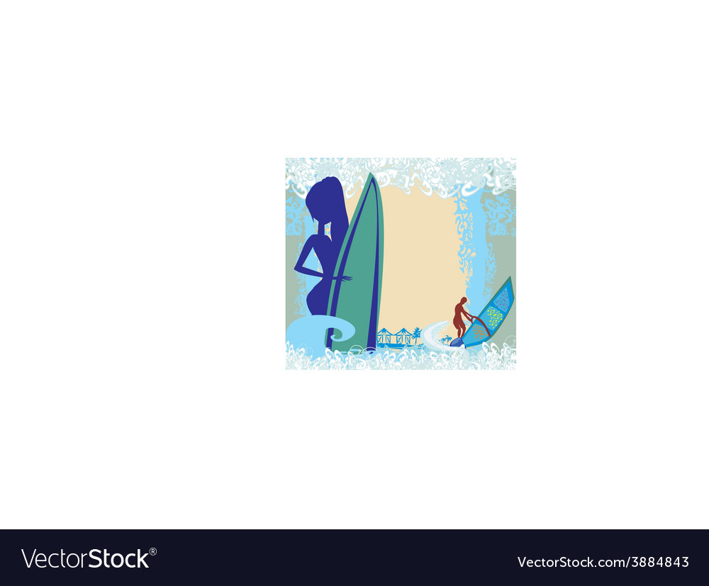 Vertor abstract frame surf beach vector | Price: 1 Credit (USD $1)