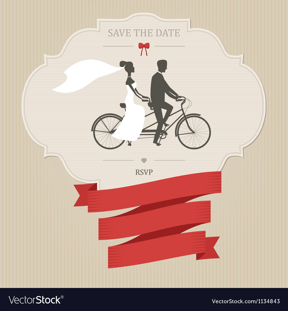 Vintage wedding invitation with tandem bicycle vector | Price: 1 Credit (USD $1)