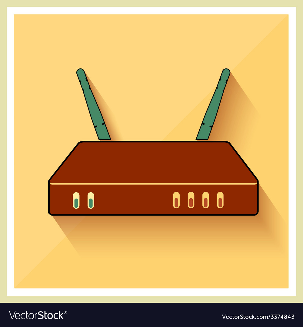 Wi-fi computer router flat icon vector | Price: 1 Credit (USD $1)