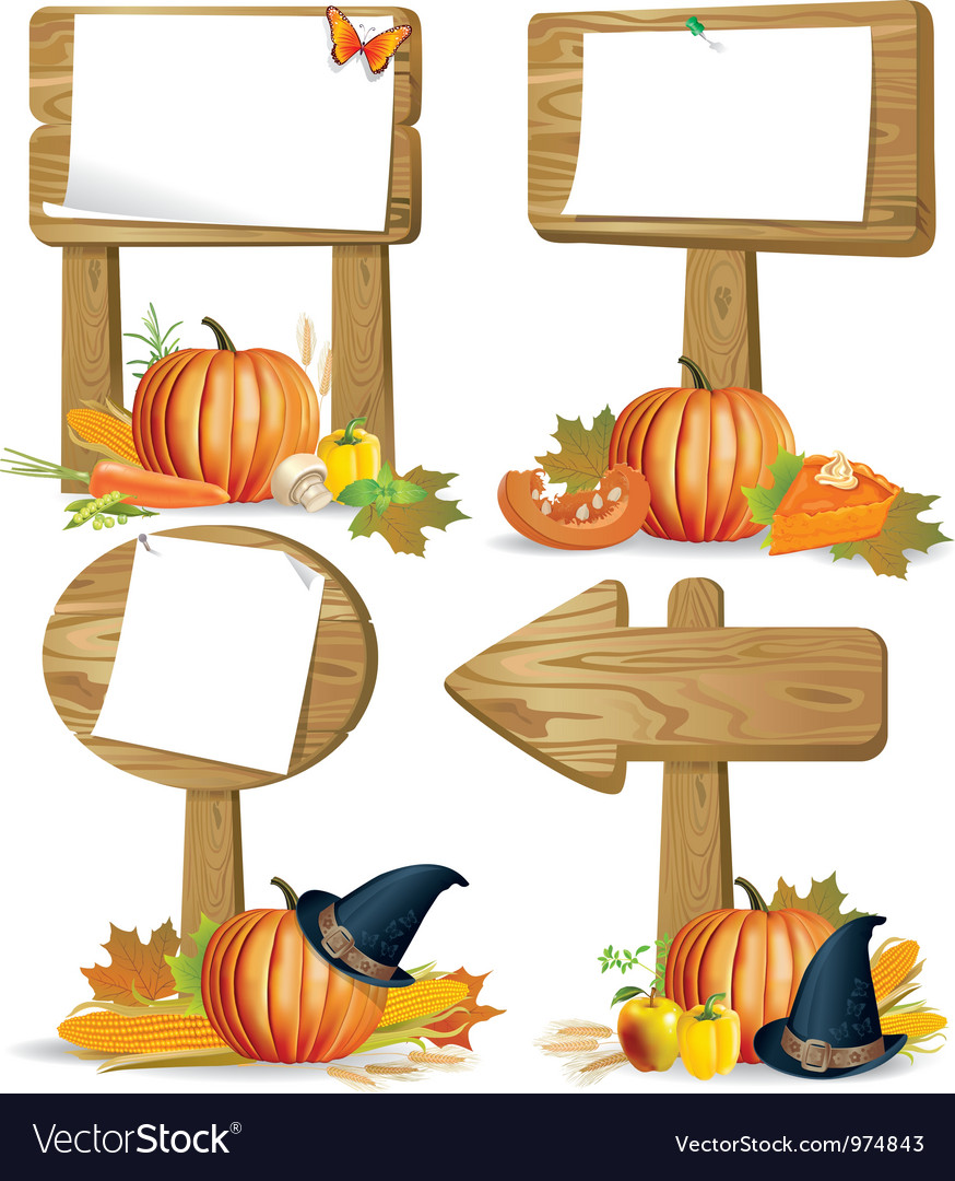 Wooden sign boards thanksgiving vector | Price: 5 Credit (USD $5)