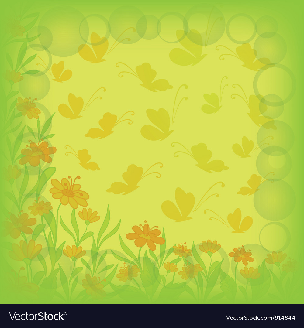 Background flowers and butterflies vector   Price: 1 Credit (USD $1)