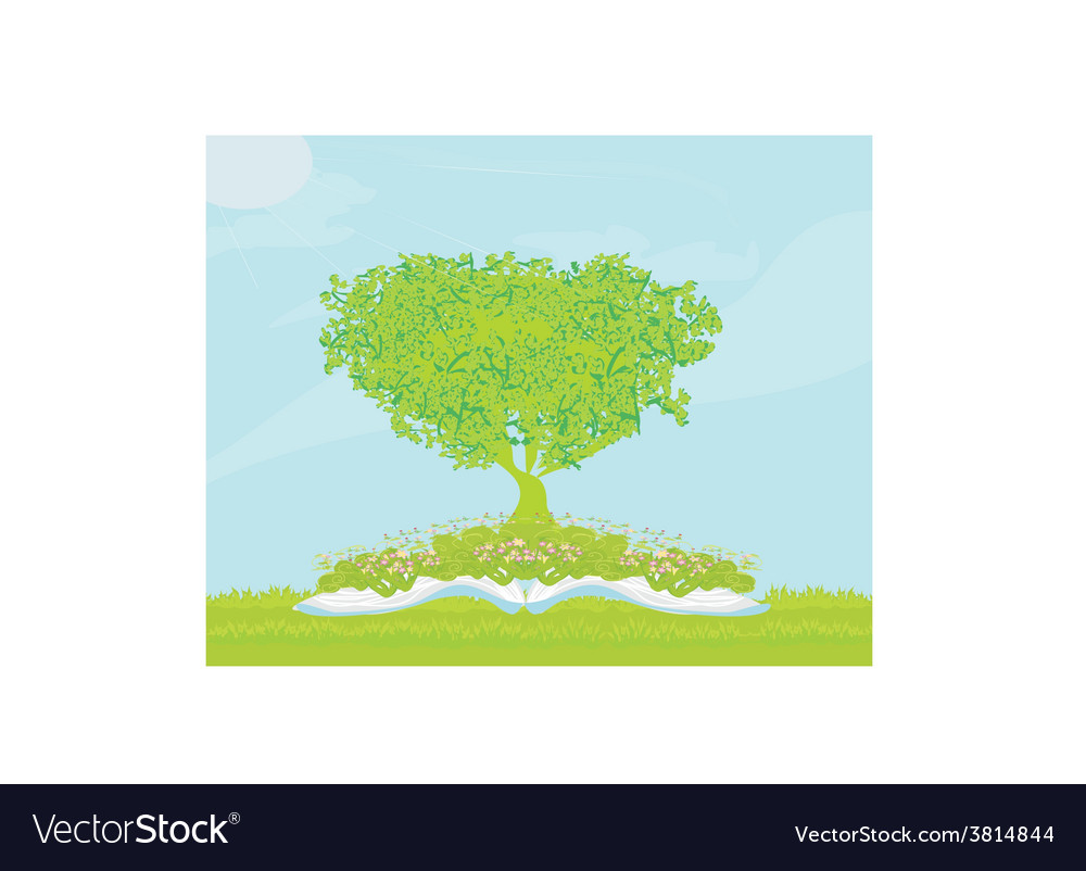 Book with tree on natural background vector | Price: 1 Credit (USD $1)