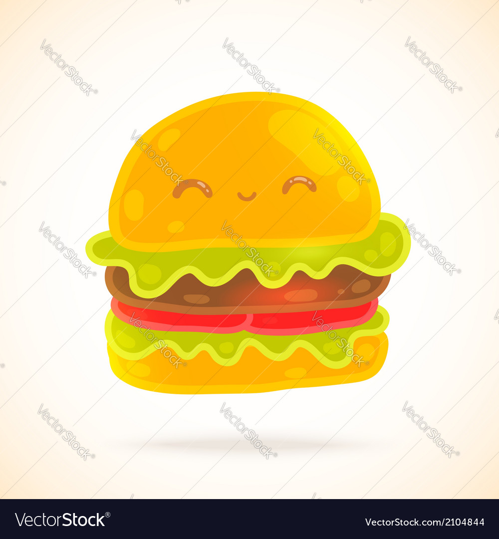 Cute funny cartoon hamburger with eyes smiling vector | Price: 1 Credit (USD $1)