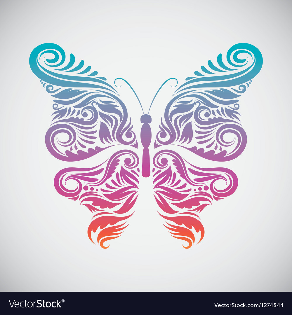 Decoration butterfly rainbow vector | Price: 1 Credit (USD $1)