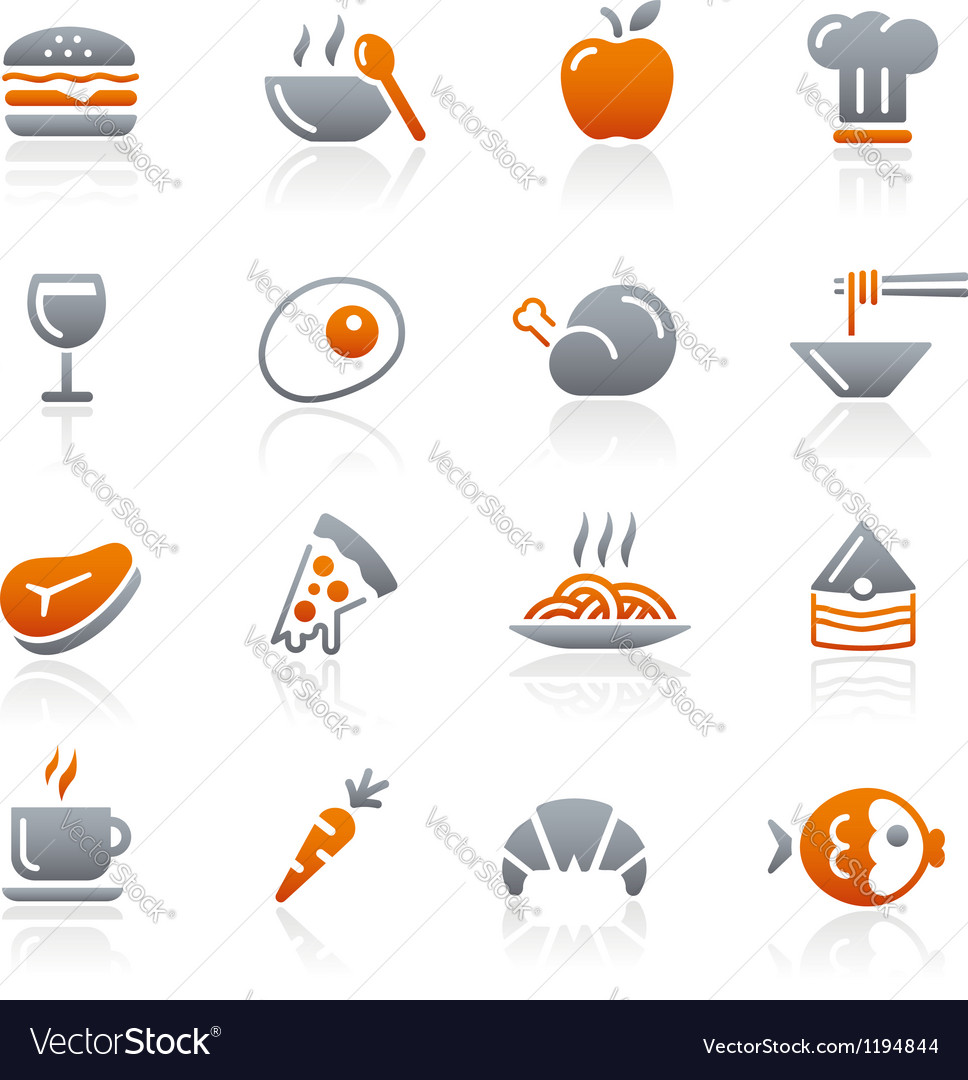 Food icons set 1 graphite series vector | Price: 1 Credit (USD $1)