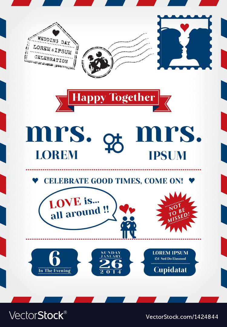 Lesbian wedding invitation vector | Price: 3 Credit (USD $3)