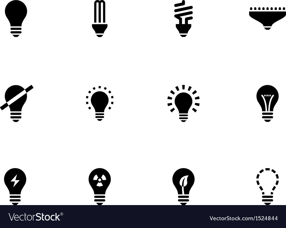 Light bulb and cfl lamp icons on white background vector | Price: 1 Credit (USD $1)