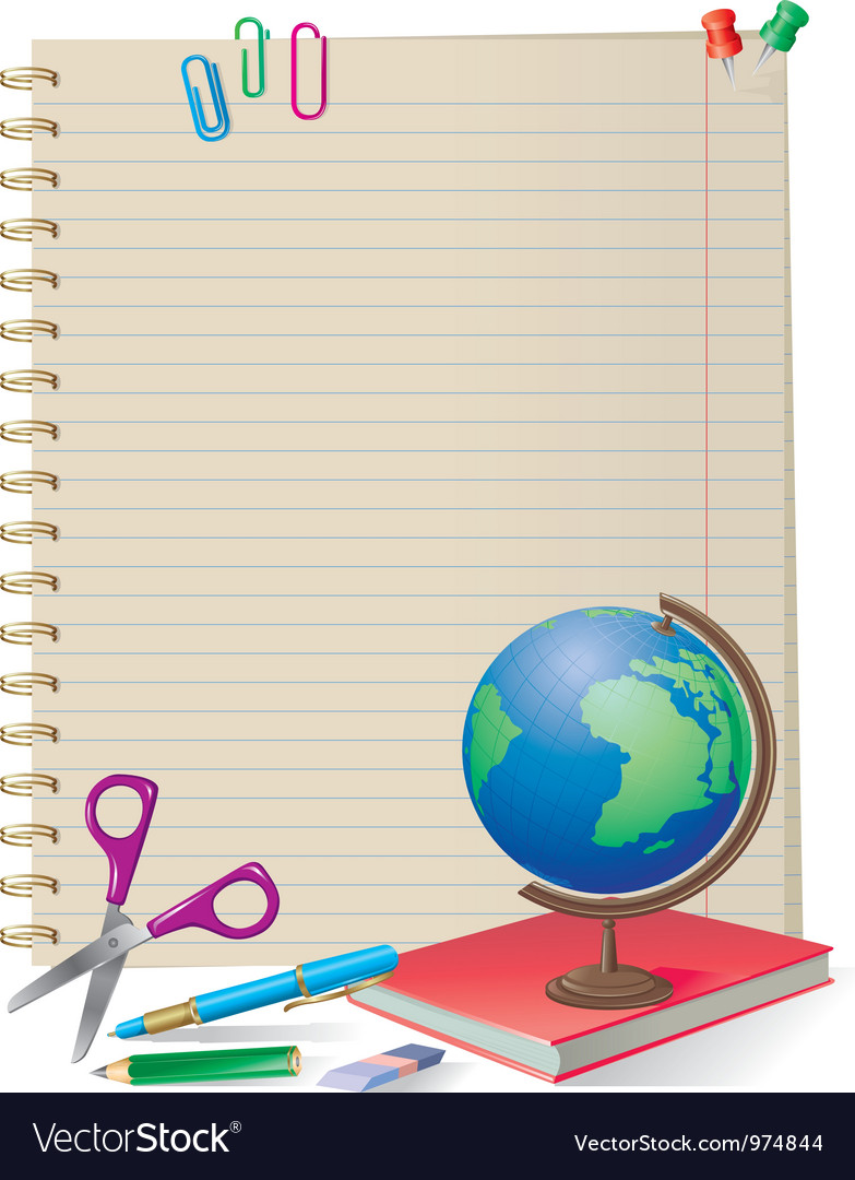 Notepad with school supplies vector | Price: 3 Credit (USD $3)