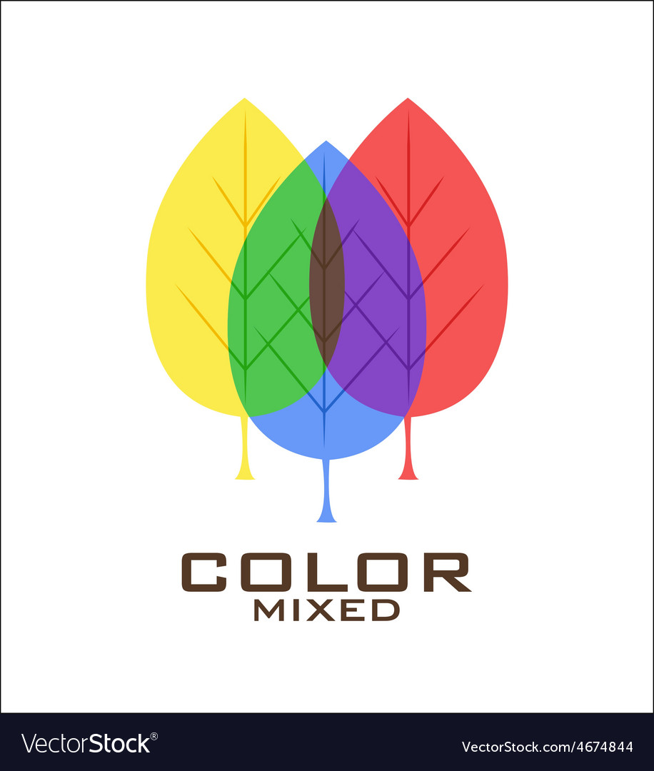 Primary color leaves logo design template vector | Price: 1 Credit (USD $1)