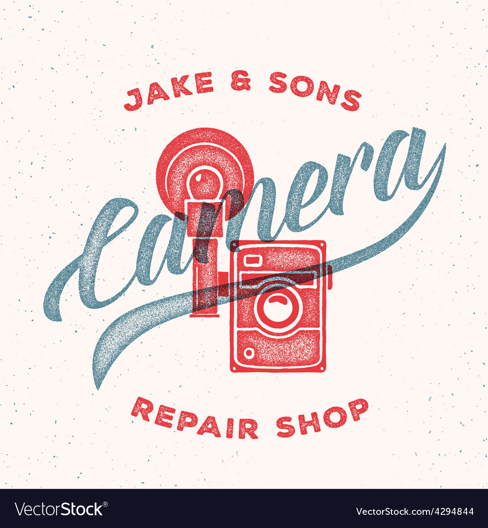 Retro print camera repair shop logo or label vector | Price: 1 Credit (USD $1)