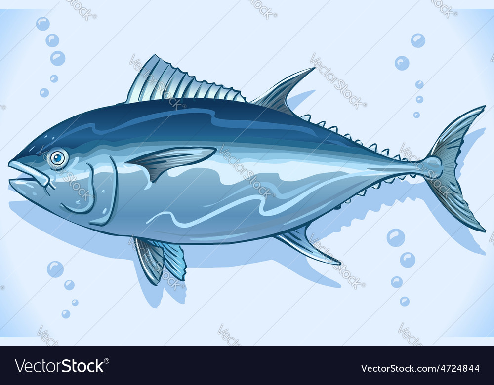 Tuna watercolor underwater world vector | Price: 1 Credit (USD $1)