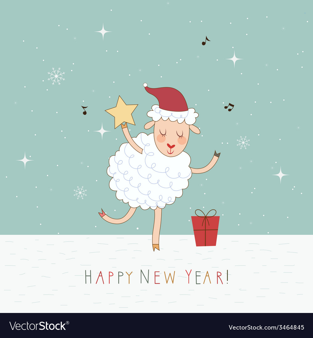 2015 new year card with sheep vector   Price: 1 Credit (USD $1)