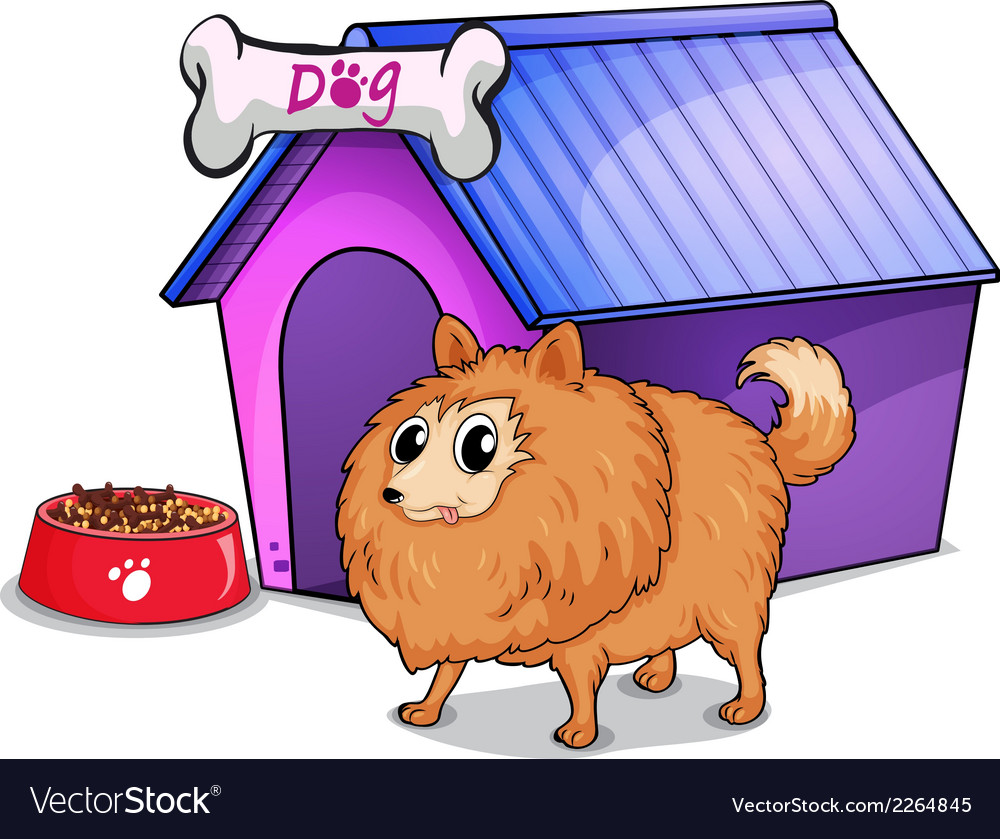 A brown dog outside the doghouse vector | Price: 1 Credit (USD $1)