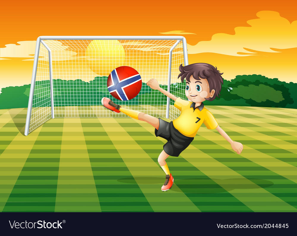 A girl at the field kicking the ball with the flag vector | Price: 1 Credit (USD $1)