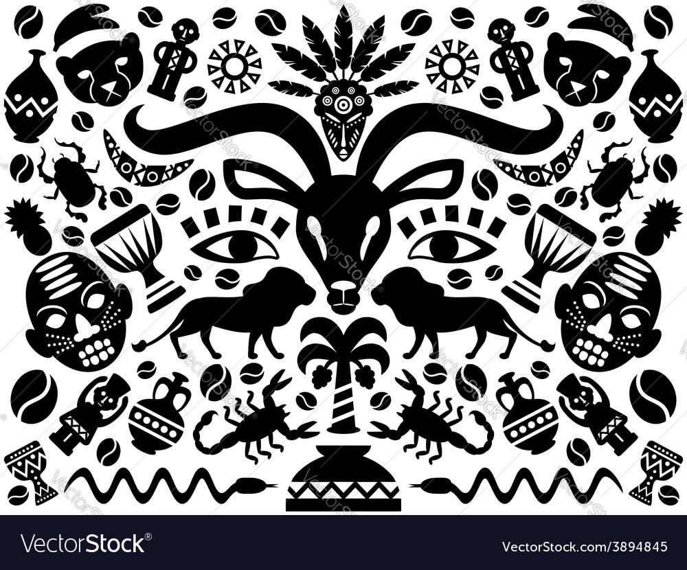 Abstract tribal ornamental background vector | Price: 1 Credit (USD $1)