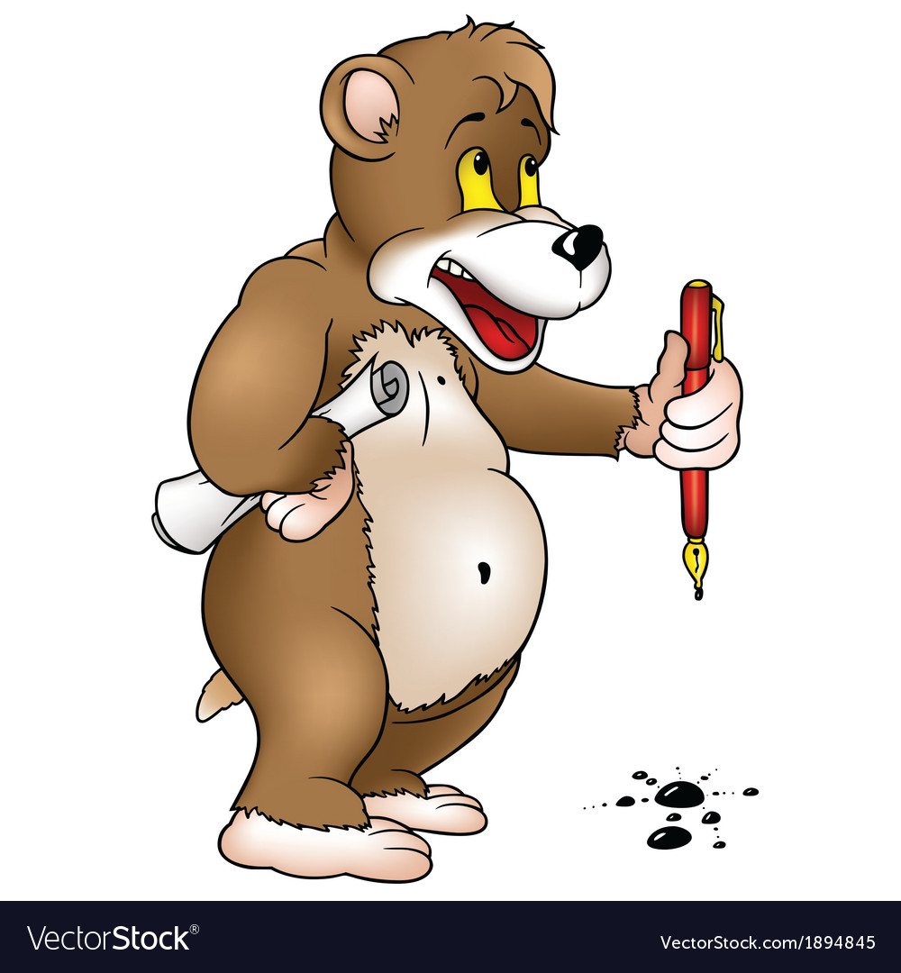 Bear holding a pen vector | Price: 1 Credit (USD $1)