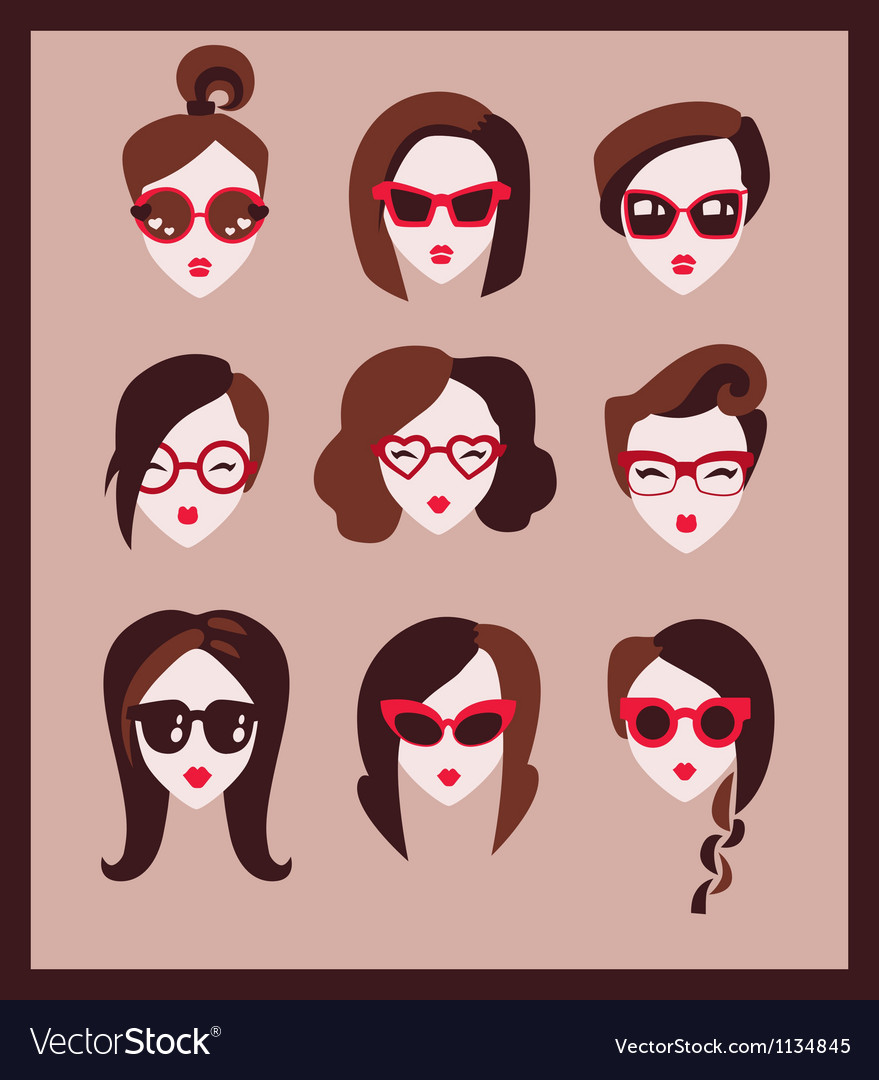 Fashion girls in glasses vector | Price: 1 Credit (USD $1)