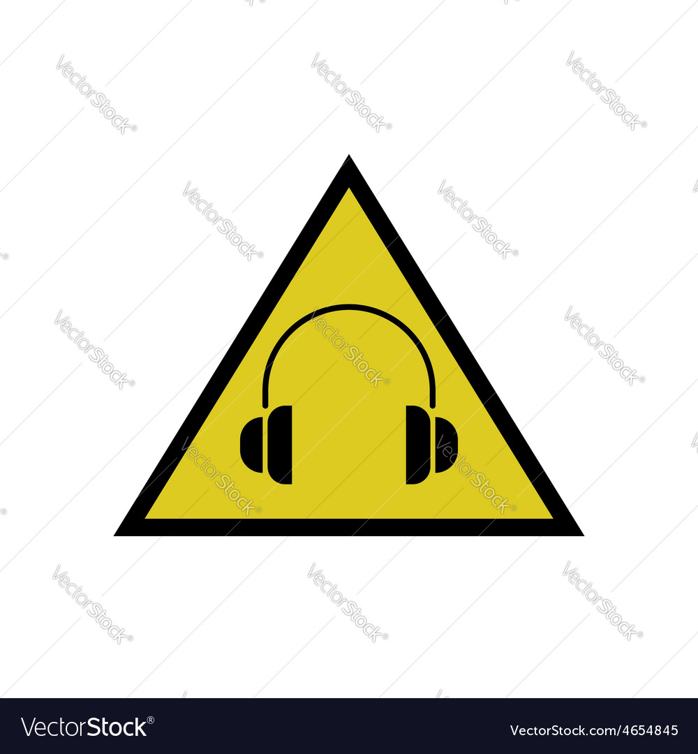 High noise levels warning sign headphones icon vector | Price: 1 Credit (USD $1)