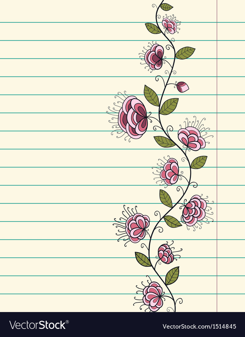 Lined paper sheet with doodle flowers vector | Price: 1 Credit (USD $1)