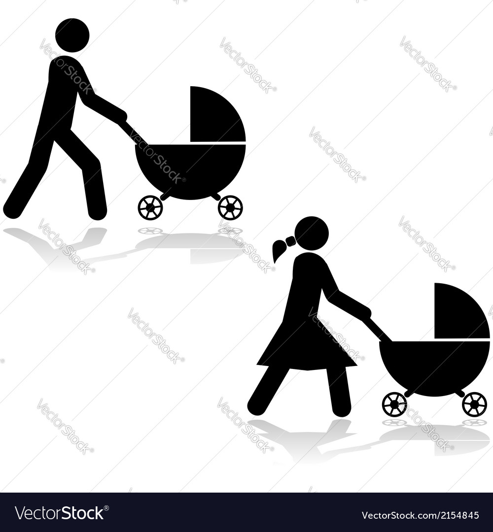 Pushing a stroller vector | Price: 1 Credit (USD $1)