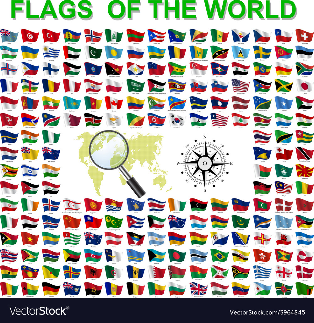 Set of flags of world sovereign states vector | Price: 1 Credit (USD $1)