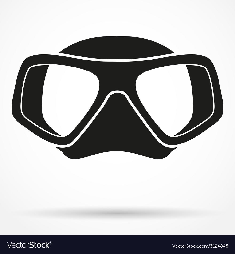 Silhouette symbol of underwater diving scuba mask vector | Price: 1 Credit (USD $1)