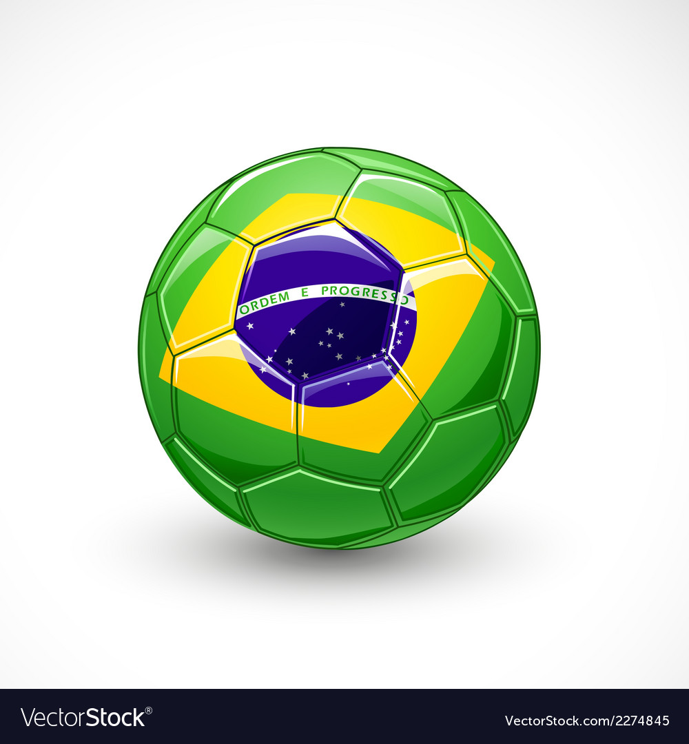 Soccer ball with brazil flag vector | Price: 1 Credit (USD $1)