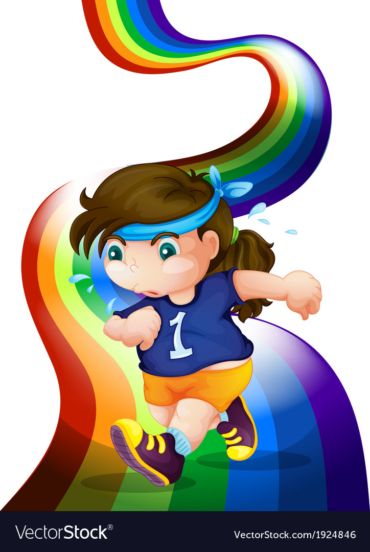A woman jogging at the rainbow vector | Price: 3 Credit (USD $3)