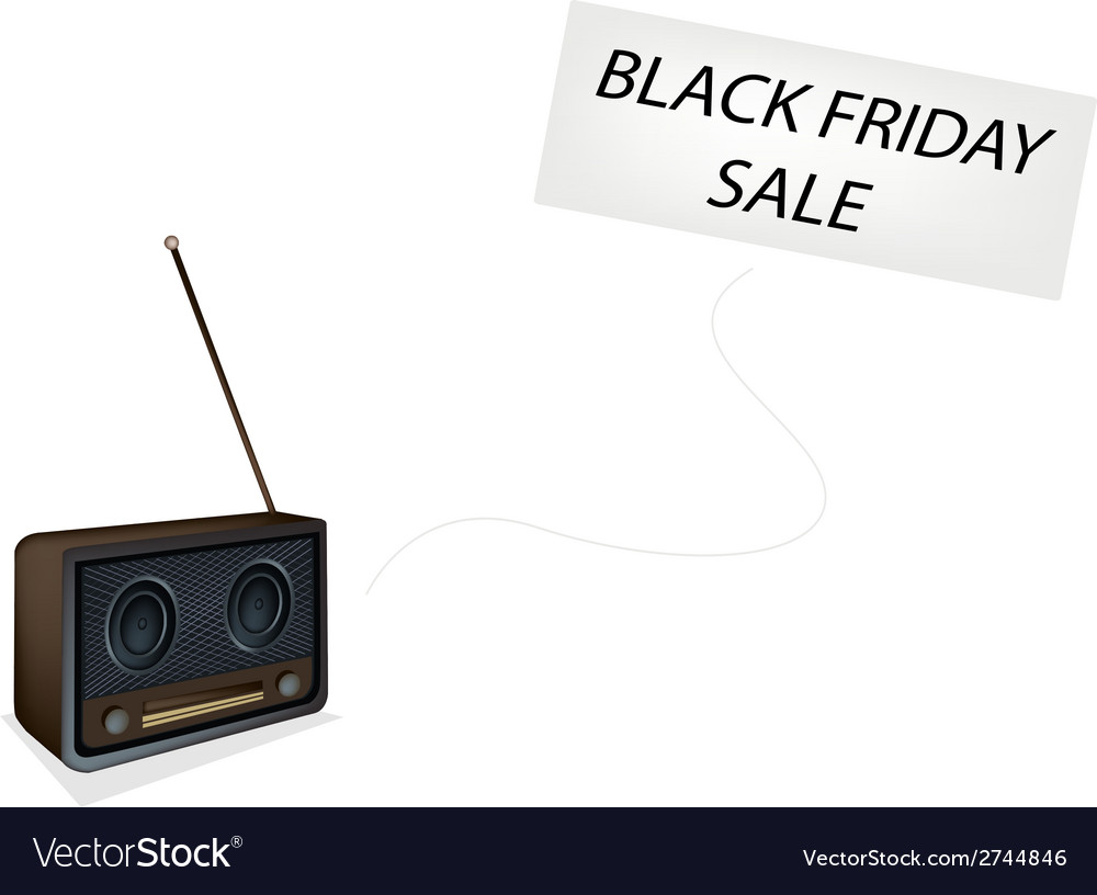 Beautiful old radio playing black friday song vector | Price: 1 Credit (USD $1)