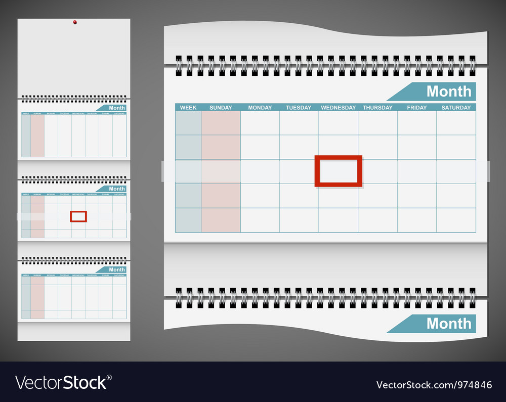 Blank standard wall calendar template isolated on vector | Price: 3 Credit (USD $3)
