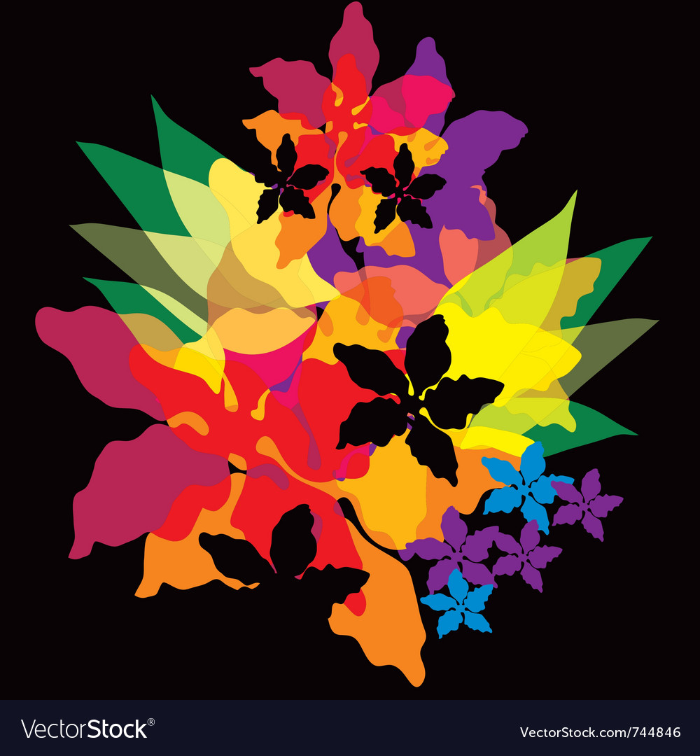 Bright abstract flowers vector | Price: 1 Credit (USD $1)