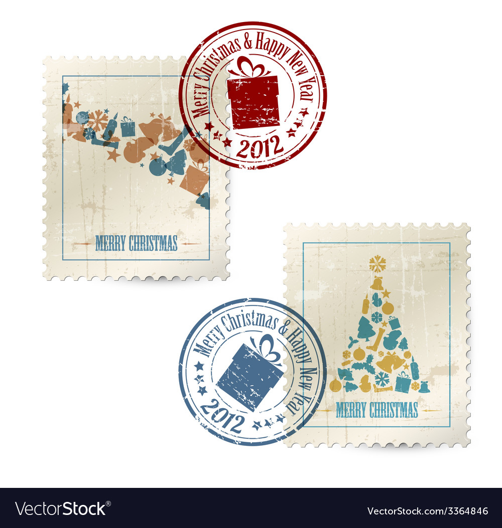 Collection of vintage postage stamps vector | Price: 1 Credit (USD $1)