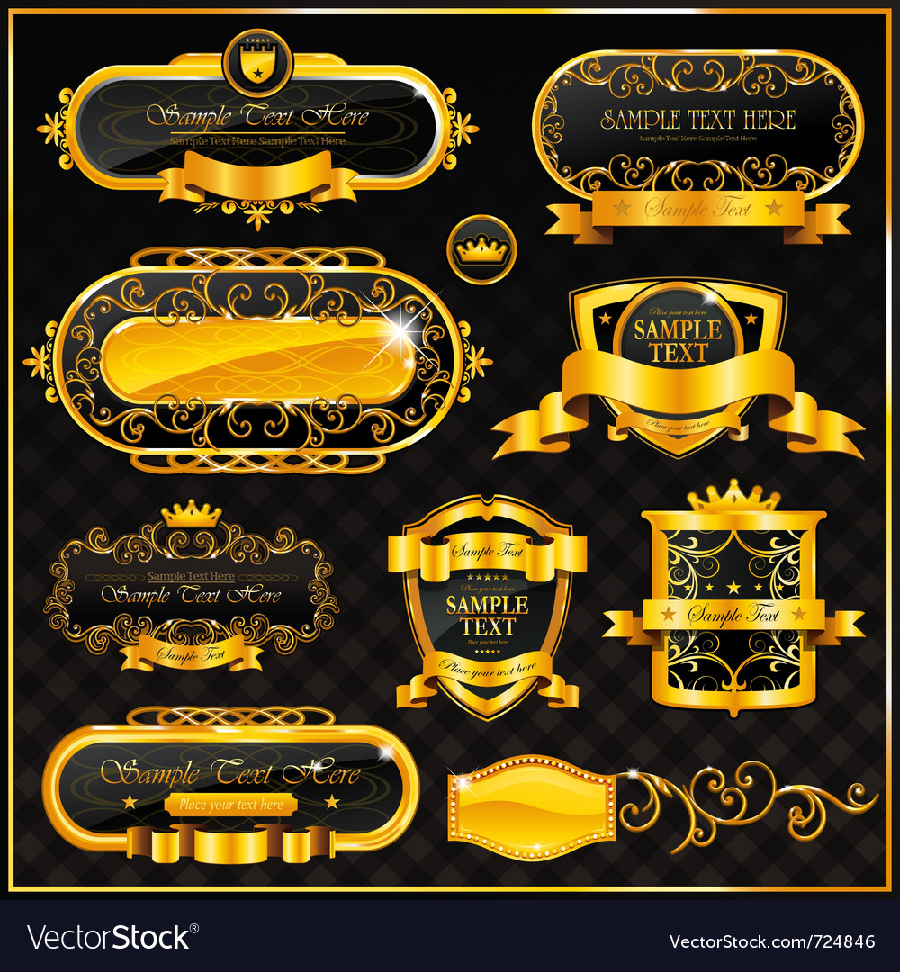 Decorative ornate gold frame label vector | Price: 3 Credit (USD $3)