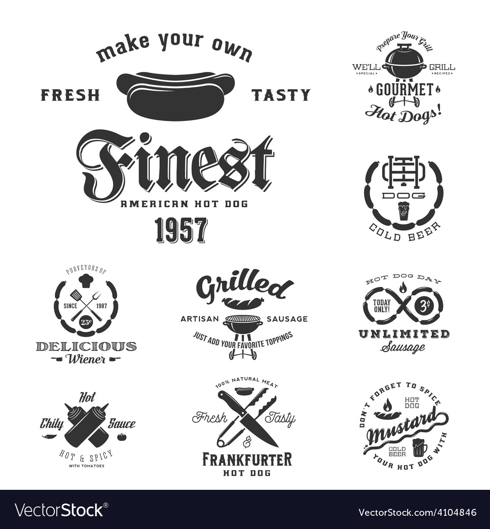Hot dog vintage typography labels and design vector | Price: 1 Credit (USD $1)