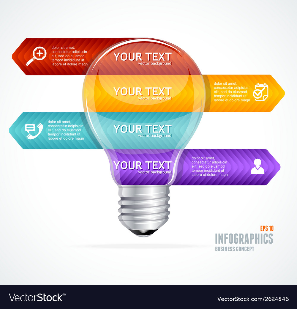 Lamp modern infographics options banner vector | Price: 1 Credit (USD $1)