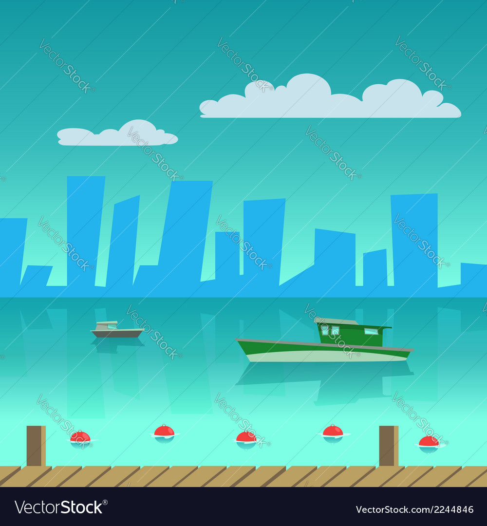 Port in the city vector | Price: 1 Credit (USD $1)