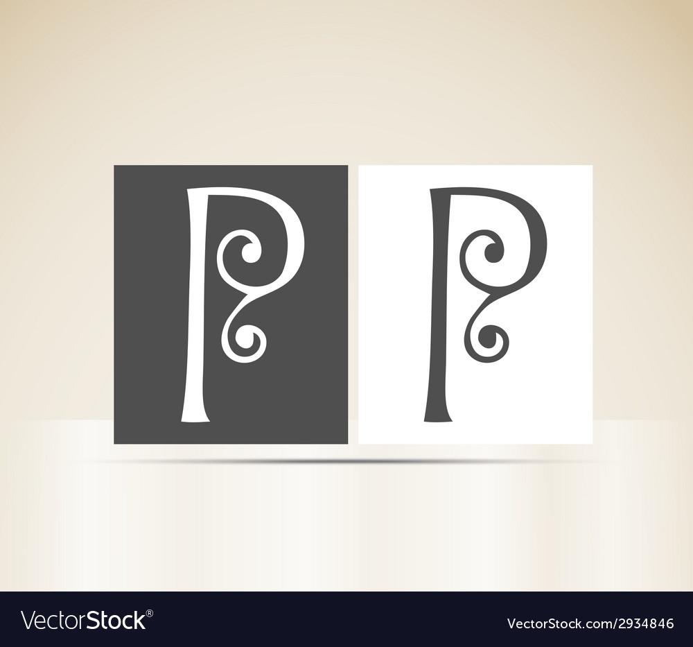 Retro alphabet letter p art deco vintage design vector | Price: 1 Credit (USD $1)